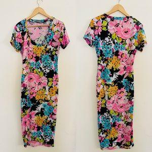 Reco Chapple | Floral Midi Dress Sz L/XL